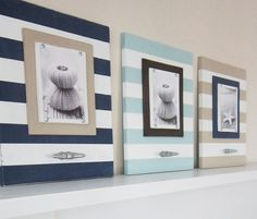 Set of Three Stripe Frames with Boat Cleat for di ProjectCottage Cute Frames, Picture Frames, Picture Boards, Coastal Decor, Coastal Living, Porch Interior, Nautical Theme, Nautical Stripes, Beach Room