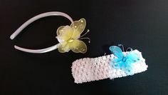 Line arch and crochet headbands with butterfly embellishment
