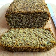 The super hearty & delicious Gluten-Free Chia Bread will be your new favorite breakfast! It is loaded with nutrition and totally scrumptious. Vegan, gluten-free, egg-free, dairy-free and sugar-free. Perfect to top with some sliced avocado or nut butter. Gluten Free Baking, Vegan Gluten Free, Gluten Free Recipes, Bread Recipes, Vegan Recipes, Cooking Recipes, Dairy Free, Sugar Free Quinoa Recipes, Cooking Food