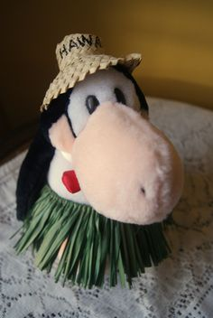 Vintage Plush, Opus, Penguin, Bloom County Cartoon, Stuffed Animal, Collectible, 80s Pop Culture, Fun Farm, Hawaii Hat, Grass Skirt, 1984 by BrindleDogVintage on Etsy
