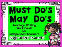 Must Do & May Do Cards for ELA Focal Wall2 cards per page. Blank cards are editable.Visuals for beginning readers / EL studentsCut apart, laminate, and add to your FOCAL WALLto create INDEPENDENT Learners! Primary Grades