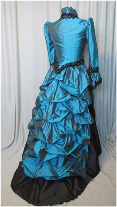 Victorian Bustle Dress in Teal and Black silks by SallyCDesigns