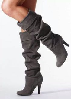 Charcoal Knee High Boots