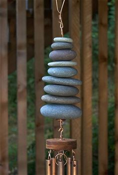 Natural Pacific Beach Stone Large Copper Chimes Wind Chimes - Coast Chimes - 2