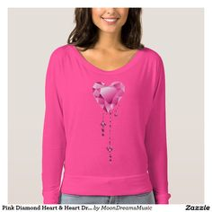 #PinkDiamondHeart & #HeartDroplets #NeonPink #FlowyOffShoulderShirt by #MoonDreamsMusic #ValentinesDayStyle