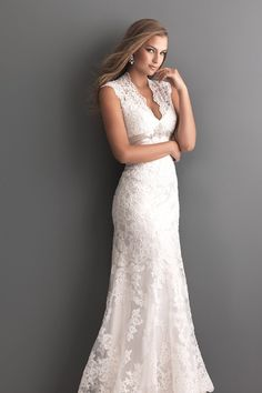 This romantic A-line lace wedding dress with delicate shoulder straps will make your fiance fall in love with you all over again! @allurebridals