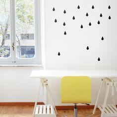 Raindrops Wall decal / Rain drops Vinyl Wall Pattern / Nursery decor / Rain Wall sticker / Black raindrops / Office decor