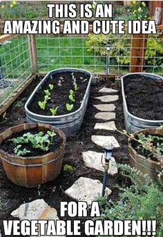 Cute Garden idea.  Having raised beds is a great way to keep the weeds down!  May have to try something like this next summer.