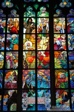 Stained glass window, St Vitus Cathedral, within the grounds of Prague Castle