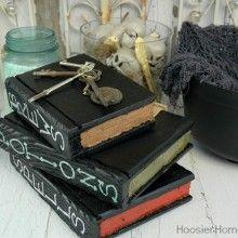Learn how to make Wooden Books. Great for Halloween Spell Books. Tutorial on HoosierHomemade.com