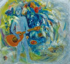 (Korea) Man Playing Guitar,1960 by Chun Kyung-ja (1924-2015). 천경자