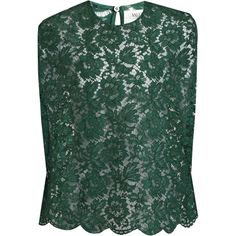 Valentino Floral-lace top (€1.355) ❤ liked on Polyvore featuring tops, green, green lace top, lacy tops, loose fitting tops, cut loose tops and floral tops