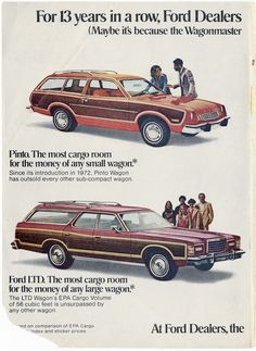 """1978 Ford Pinto and LTD Wagon advertisement (partial) """"Pinto. The most cargo…"""