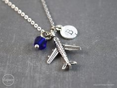 Airplane Necklace Airplane Jewelry Birthstone Jewelry by clayware