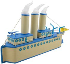 Cute Steamboat craft -using 2 milk cartons, paper towel tube, toilet paper tubes, colored tape, string, 2 smaller boxes