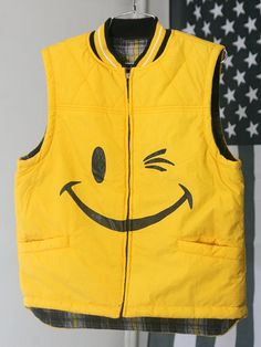 RAD Yellow 90s Winking Smiley Face FlannelLined by HumanNightmare,