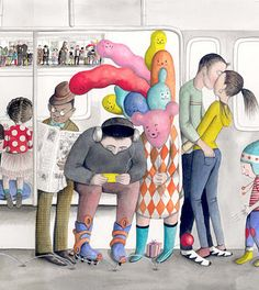 "Missed Connections on the New York Subway, a print by Sophie Blackall, available for sale at the MTA Arts for Transit Store. 9 1/2"" X 44"". Click through for the whole poster."