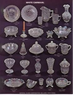 1974 - 1976 White Carnival Page 01 Antique Glassware, Crystal Glassware, Vintage Kitchenware, Cut Glass, Glass Art, Crystal Identification, Art Vintage, Glass Canisters, Pottery Marks