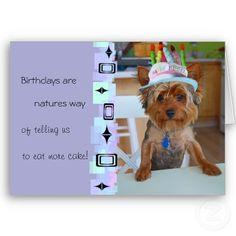 Cute Yorkie Birthday Card from Zazzle.com