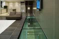 Design Inferno Glass offers a wide range of glass floors in Melbourne for internal applications. Contact us to learn more about our glass floor solutions. Interior House Paint Colors, Home Wall Colour, Home Interior Design, Entrance Design, House Entrance, Home Wall Painting, Glass Stairs, House Trim, House Tiles