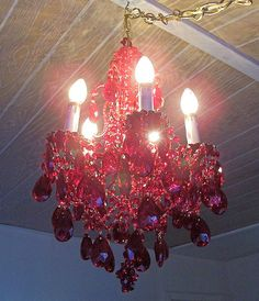 Racy Red Vintage Crystal and Brass Petite by sheriscrystals, $449.95    20% off chandeliers 2/13 through 2/17!!