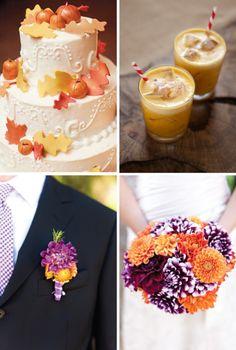 plum and pumpkin fall wedding cake pumpkin cocktail orange and purple wedding bouquet wedding colors for fall wedding party blog