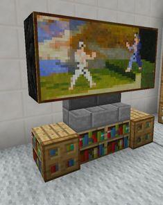 Minecraft TV Television Entertainment Center Furniture - Marie - Pctr UP Plans Minecraft, Minecraft Room, Minecraft Games, Minecraft Tutorial, Minecraft Blueprints, Minecraft Crafts, Minecraft Designs, Minecraft Furniture, Minecraft Stuff