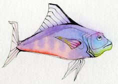 One of a set of 30 imaginary watercolor fish Chris Grant
