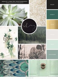 pretty color combo - Forest green, Mint Green, cream, gold
