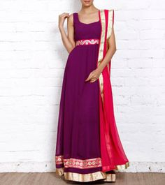 Purple Georgette Gown with Dupatta