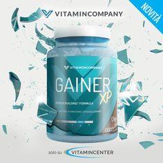 New Entry #Vitamincompany >> GAINER XP << Integratore a base di #CARBOIDRATI, #Proteine, L-Glutammina di qualità Kyowa®, Vit. B6, Taurina e Bromelina! Un'esplosione di gustoso cioccolato da bere per i tuoi muscoli 😋💪 Disponibile su #VitaminCenter! Build Muscle, New Product, Water Bottle, Container, Drinks, Drinking, Beverages, Gain Muscle, Water Flask