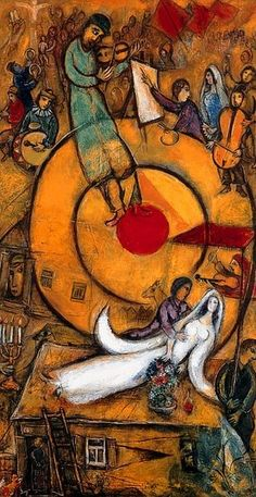 "Painting by Marc Chagall, 1937/1952, Libération, Series of three monumental paintings call ""Révolution"", oil on canvas, Centre Pompidou, Paris."