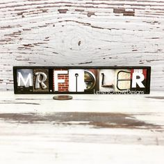 These custom teacher name wood signs featuring my original photo letters make great end-of-the-school-year teacher gifts!