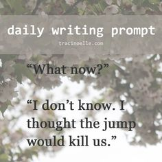 "daily writing prompt: ""What now?"" ""I don't know. I thought the jump would kill us.""   https://twitter.com/tracinoellex"