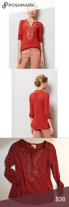 """Anthropologie burnt orange henley by Meadow Rue Anthropologie burnt orange henley by Meadow Rue- size XS. Pullover styling. Cotton. Busy: approx 16"""". Length: approx 25"""". Excellent pre-loved condition. Anthropologie Tops"""