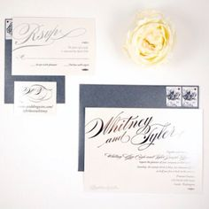 Silver Metallic Foil puts this wedding invitation over the edge by Honey Paper. www.honey-paper.com #silverwedding #weddinginvitaiton #honeypaper