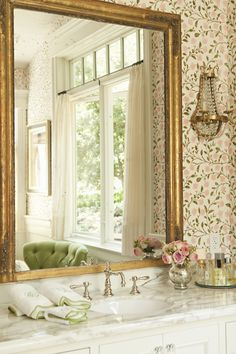 - bathrooms - pink and green bathroom, floral wallpaper, flower wallpaper, botanical wallpaper, roses wallpaper, pink roses...
