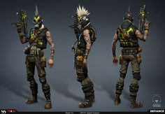 Raider Blitzer – Defiance    This is one of the raider characters from the game.  Original concept by our concept lead, hethe(http://hethe.cghub.com/).  Modeled in maya, sculpted in zbrush, textured in photoshop and bodypaint, and rendered in Marmoset. -  Artwork by Satoshi Arakawa    Game Developer – © Trion Worlds