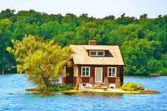 Thousand Islands, Canada. This pinner adds, I would believe this was photoshopped, except I saw several of these during my vacation in Canada in Some houses looked like they were floating. Thousand Islands, Lake Cottage, Red Cottage, Cottage House, Cabins And Cottages, Little Houses, Tiny Houses, The Places Youll Go, The Good Place