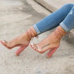 Lace Up Clear Strap High Heel Sandals