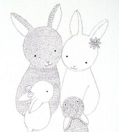 Print of Original Ink Drawing Bunny Family Black White by mikaart, $7.99