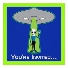 Birthday Party Outer Space with Friendly Alien Announcement