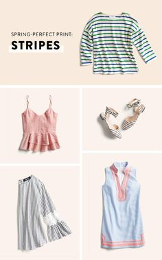 Spring Prints - Love the striped top and the sleeveless tank. Not crazy about the skinny strap tank top or skirt.