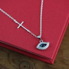 Cross and evil eye necklace, side Cross necklace, evil eye necklace - EVIL eye Jewelry,  Sterling Silver CZ, Protection, Horizontal Cross - http://evilstyle.com/cross-and-evil-eye-necklace-side-cross-necklace-evil-eye-necklace-evil-eye-jewelry-sterling-silver-cz-protection-horizontal-cross