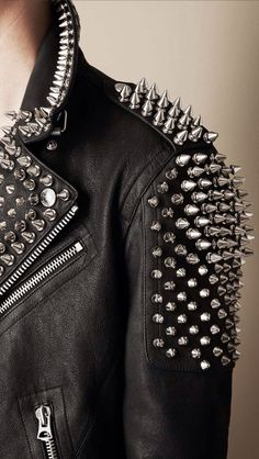 0137c48a8 Leather jacket with studs Style Punk Rock, Biker Style, Jacket Style,  Leather Fashion
