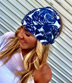 Stretchy Soft Blue and Cream Floral Headband Hair Coverings Head Bands. via Etsy.