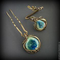 Купить латунный комплект Шелковые облака - разноцветный, комплект украшений, шпилька, украшение для волос, браслет