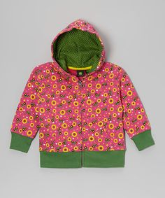 Take a look at this Hot Pink & Green Dandelion Zip-Up Hoodie - Infant & Toddler by John Deere on #zulily today!
