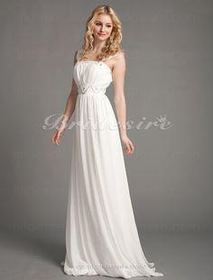 Bridesire - Etui-Linie Chiffon Empire bodenlang Brautkleid [065881] - €157.84 : Bridesire