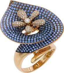 Estate Jewelry:Rings, Sapphire, Diamond, Pink Gold Ring. ...